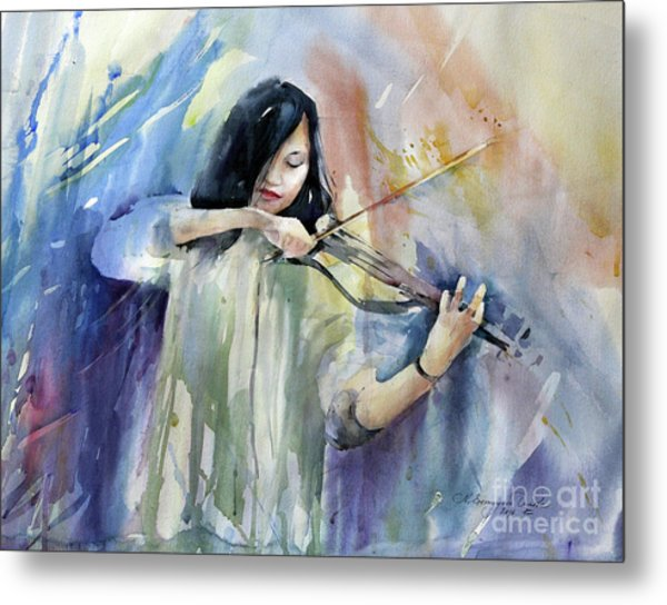 Violin Musician Metal Print by Natalia Eremeyeva Duarte