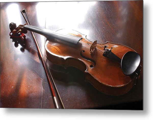 Violin On Table Metal Print