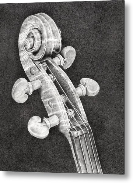 Violin Scroll Metal Print