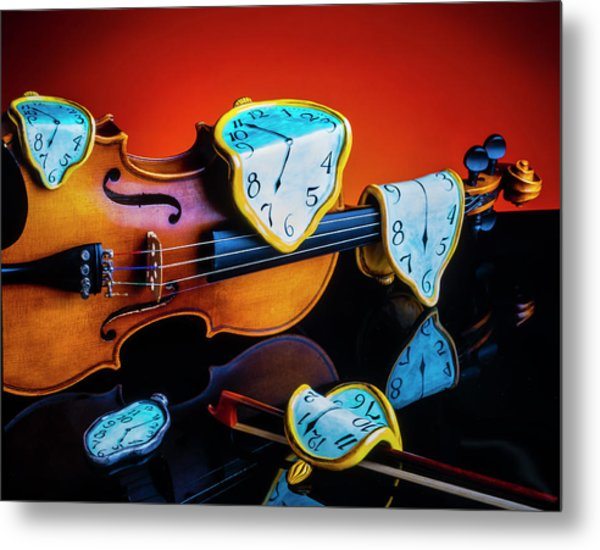 Violin With Melted Watches Metal Print
