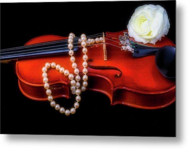 Violin With Pearls Metal Print