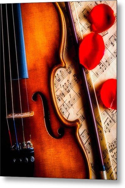 Violin With Rose Petals Metal Print