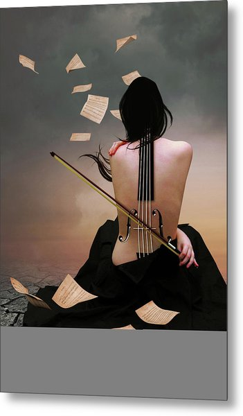 Violin Woman Metal Print