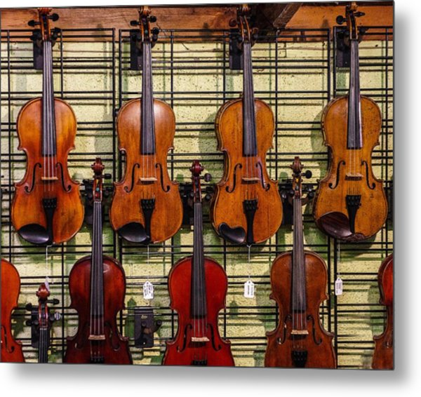 Violins In A Shop Metal Print