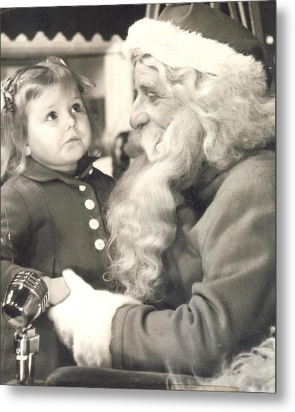 Visiting Santa For The First Time Metal Print