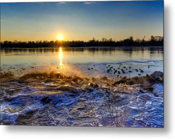 Vistula River Sunset 3 Metal Print