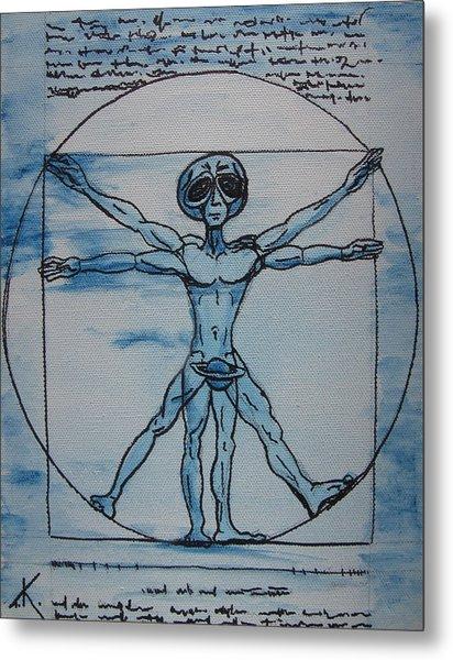 Vitruvian Alien Metal Print
