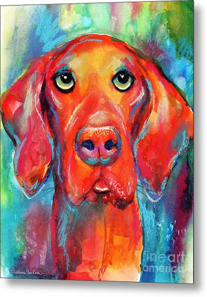 Vizsla Dog Portrait Metal Print