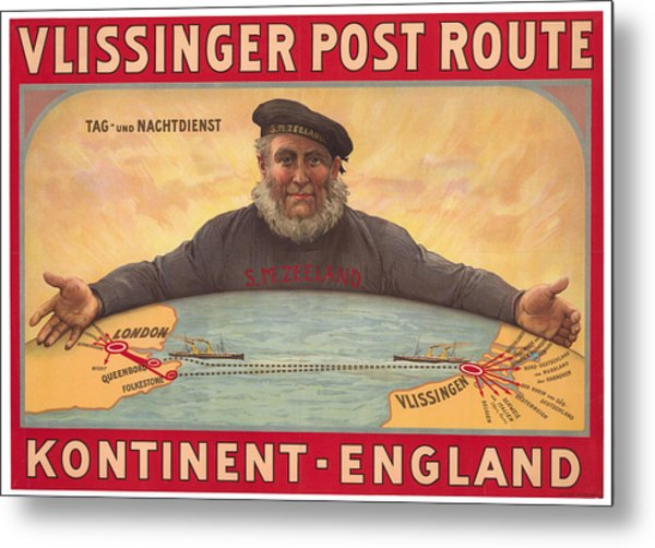 Vlissinger Post Route - Zeeland Maritime Company Poster - London To Flushing Ship Route Metal Print