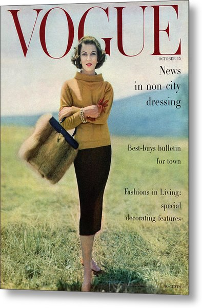 Vogue Magazine Cover Featuring Model Va Taylor Metal Print by Karen Radkai