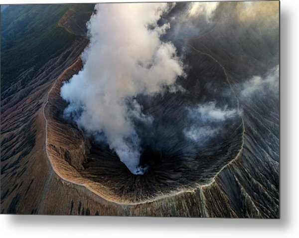 Metal Print featuring the photograph Volcanic Crater From Above by Pradeep Raja Prints