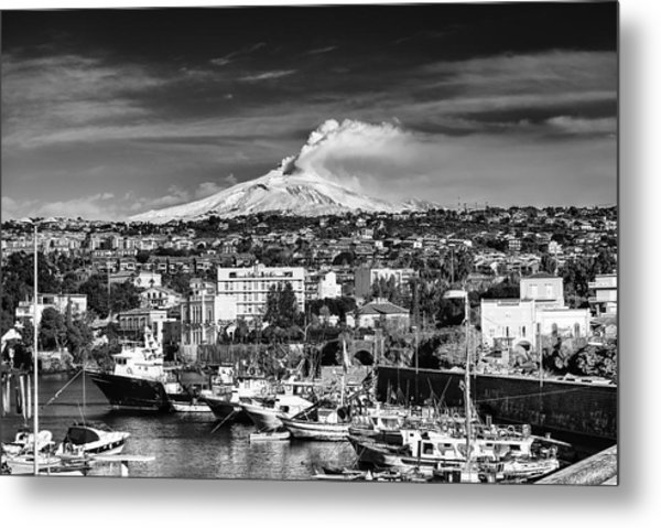 Volcano Etna Seen From Catania - Sicily. Metal Print