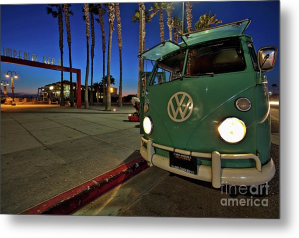 Volkswagen Bus At The Imperial Beach Pier Metal Print