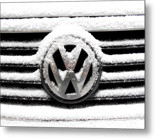 Volkswagen Symbol Under The Snow Metal Print