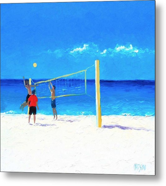 Volleyball Beach Painting Metal Print