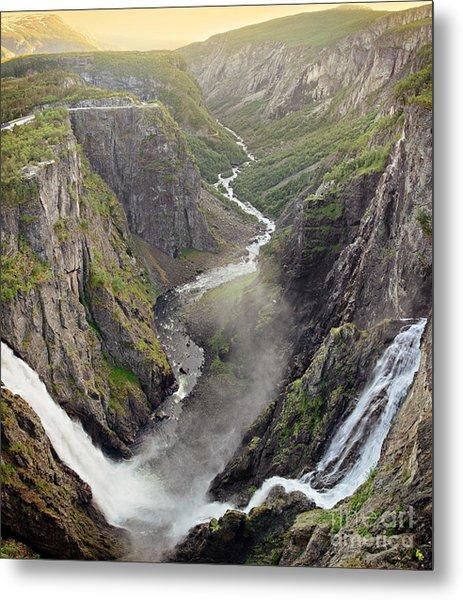 Voringsfossen Waterfall And Canyon Metal Print