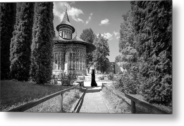 Voronet Monastery - Romania - Black And White Photography Metal Print by Giuseppe Milo