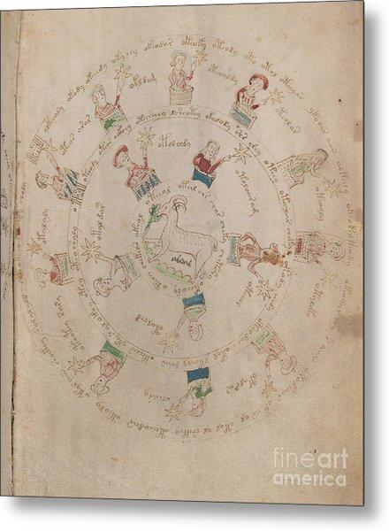 Voynich Manuscript Astro Aries Metal Print