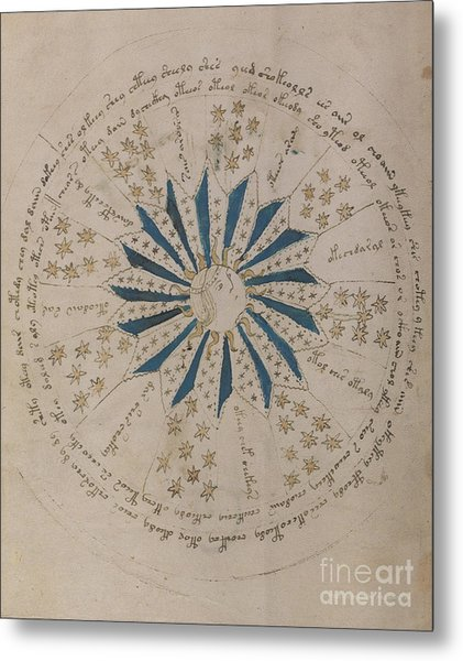 Voynich Manuscript Astro Rosette 1 Metal Print