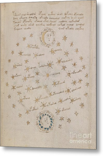 Voynich Manuscript Astro Sun And Moon 1 Metal Print