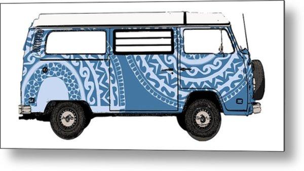 Vw Blue Van Metal Print