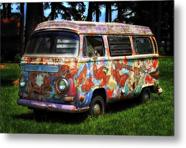 Metal Print featuring the photograph Vw Psychedelic Microbus by Bill Swartwout Fine Art Photography