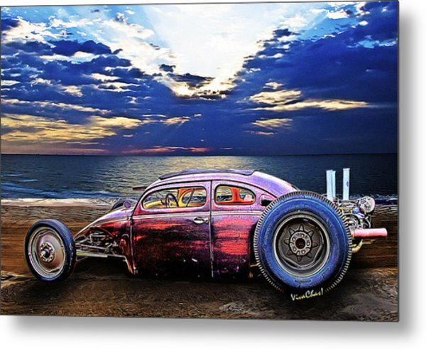 Rat Rod Surf Monster At The Shore Metal Print