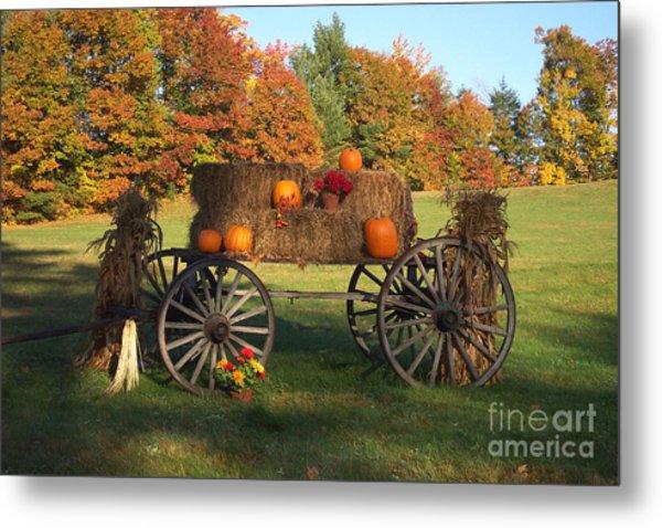 Wagon Sunny Fall Day Metal Print
