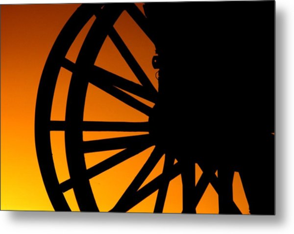 Wagon Wheel Sunset Metal Print