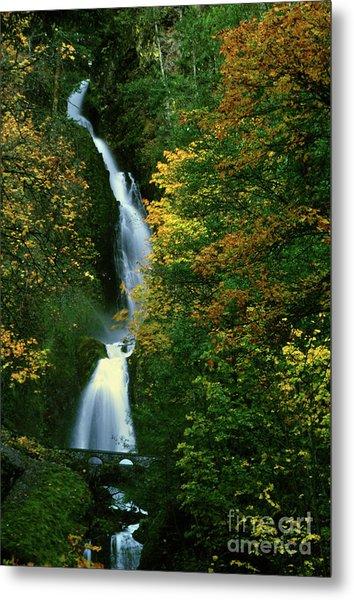 Wahkeena Falls Waterfall Metal Print