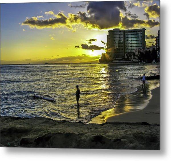 Waikiki Beach At Sunset Metal Print