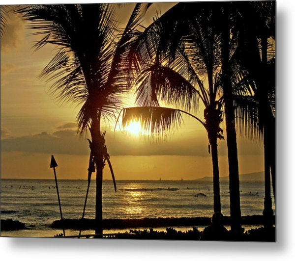 Waikiki Sunset Metal Print