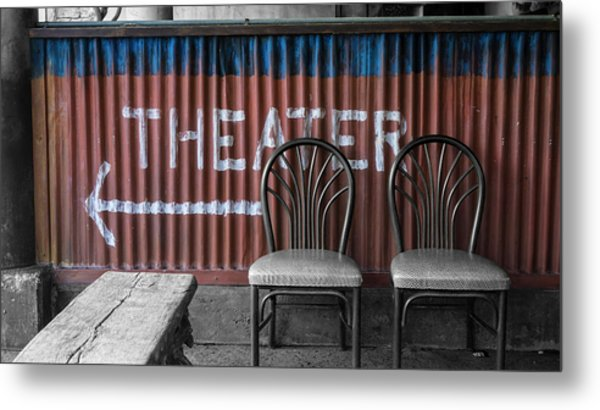 Corrugated Metal Theater Sign Metal Print
