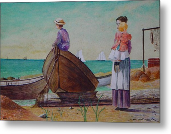 Waiting For Dad Winslow Homer Metal Print by Ron Sylvia