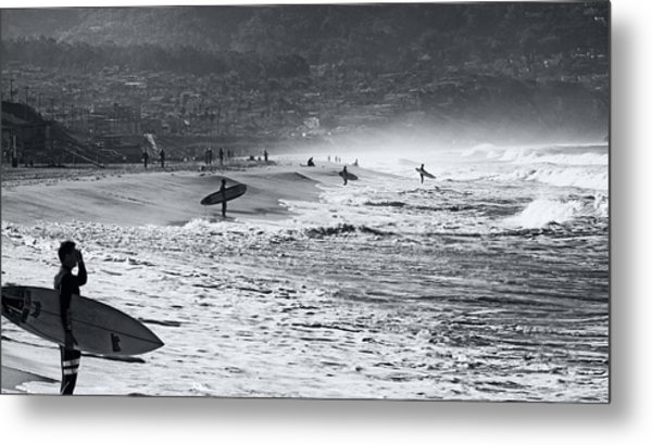 Waiting For The Surf By Mike-hope Metal Print