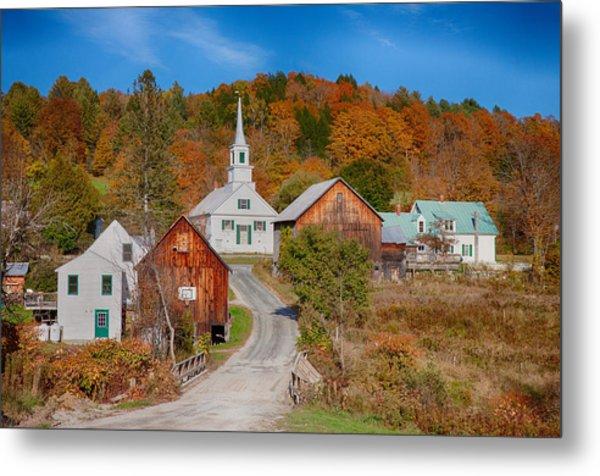Waits River Church In Autumn Metal Print