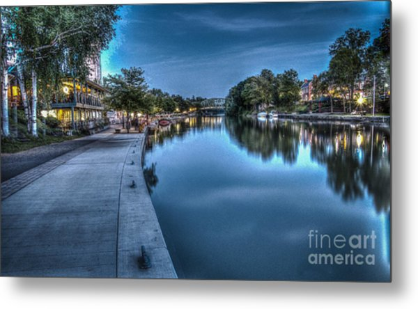 Walk On The Canal Metal Print