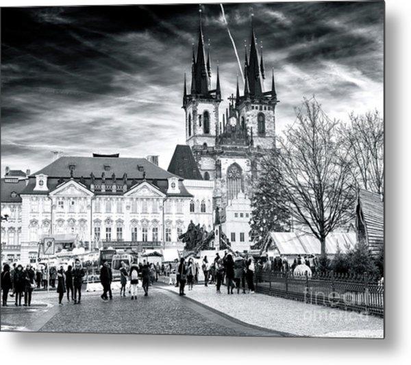 Walk Through The Prague Christmas Market Metal Print by John Rizzuto