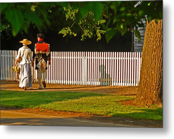 Walking Couple - Williamsburg Metal Print by Panos Trivoulides