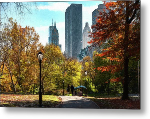 Walking In Central Park Metal Print