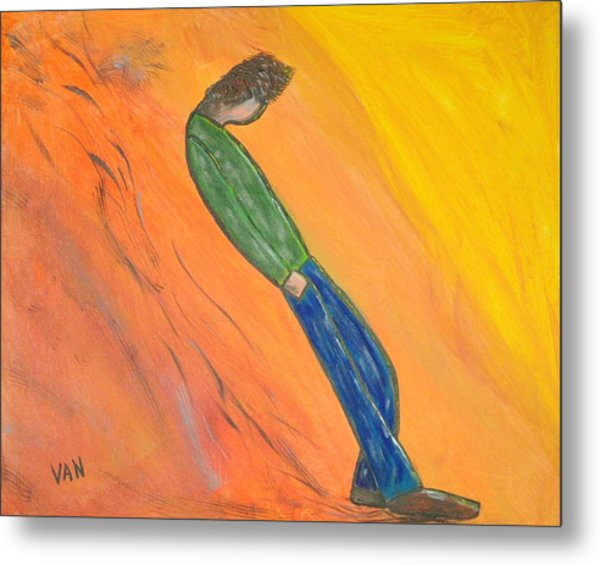 Walking Man Metal Print