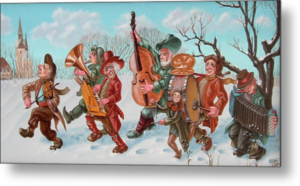 Walking Musicians Metal Print