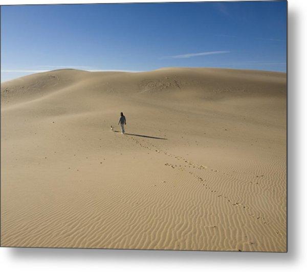 Walking On The Sand Metal Print