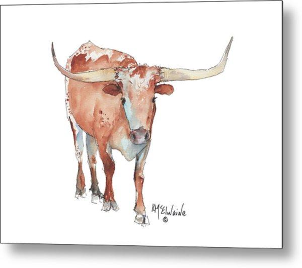 Walking Tall Texas Longhorn Watercolor And Ink By Kmcelwaine Metal Print