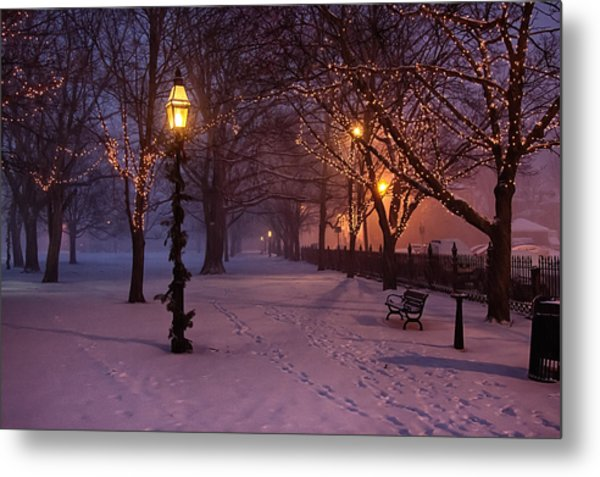 Walking The Path On Salem Common Metal Print