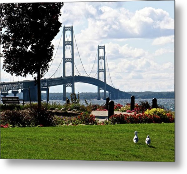Walking To The Bridge Metal Print