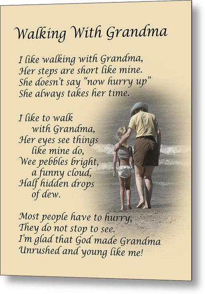 Walking With Grandma Metal Print