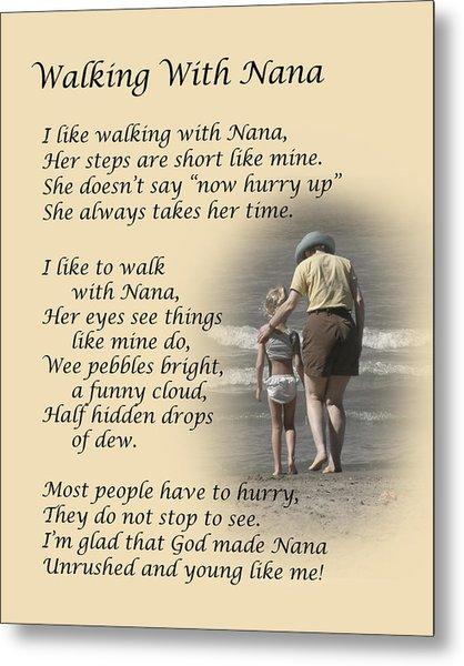 Walking With Nana Metal Print