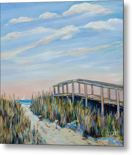 Walkway By Pier Metal Print