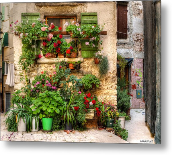 Wall Of Flowers Metal Print